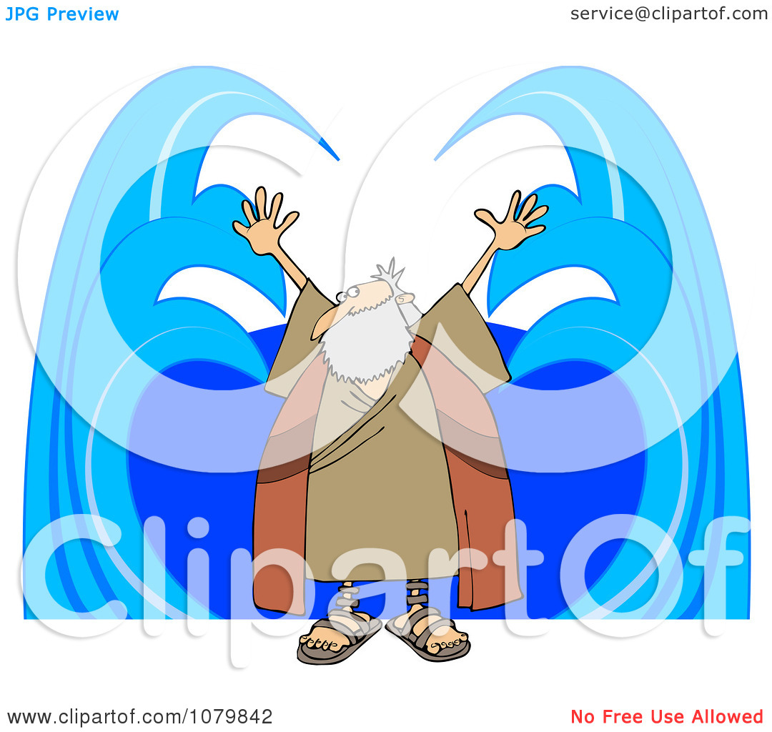 Clipart Moses Parting Water.