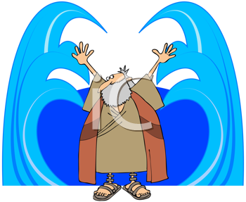 Royalty Free Clipart Image of Moses Parting the Red Sea.