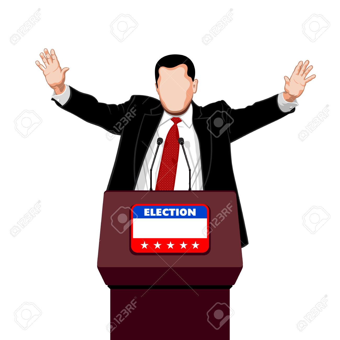 Politicien Salue Ses Partisans De La Campagne électorale Clip Art.
