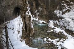 Partnach Gorge In Winter Stock Photo.