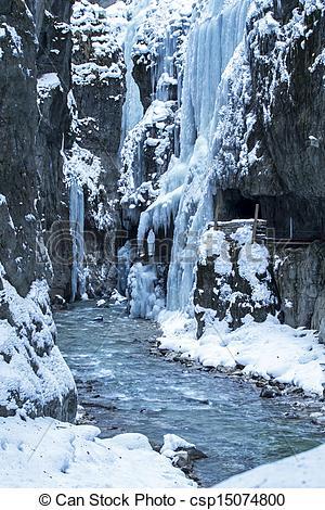 Stock Photography of Partnachklamm gorge in Bavaria, Germany, in.
