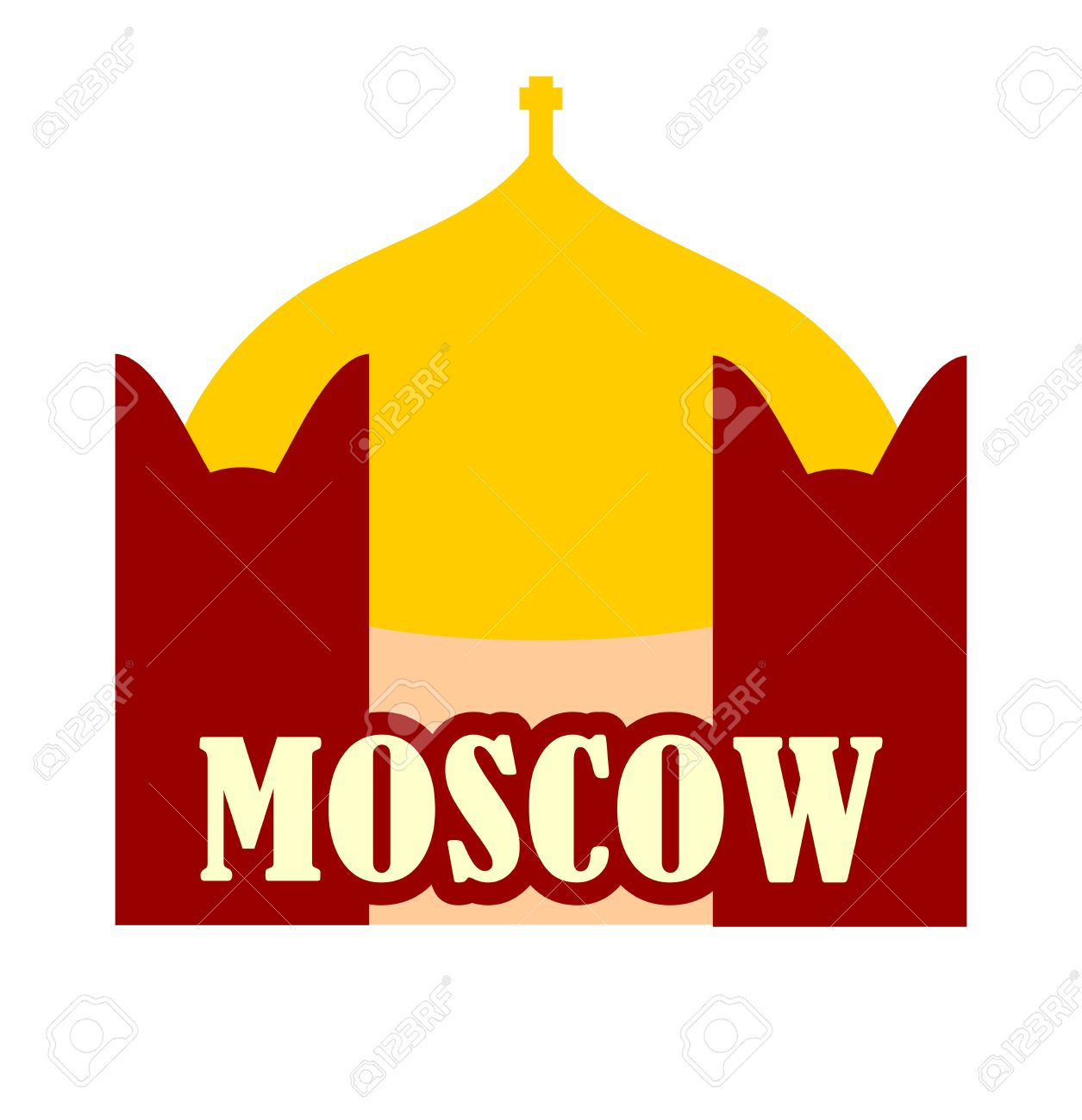 Minimalist Icon Of Moscow City, Russia. Flat Style. Church.