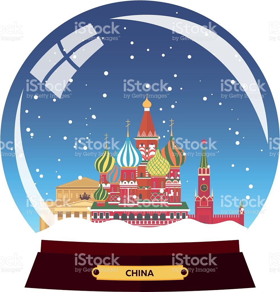 Snow Globe City Russia Moscow In Snow Globe Winter Travel stock.