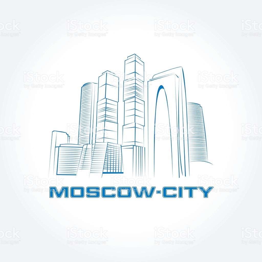 Moscow City Moscow Business Buildings Vector Illustration stock.