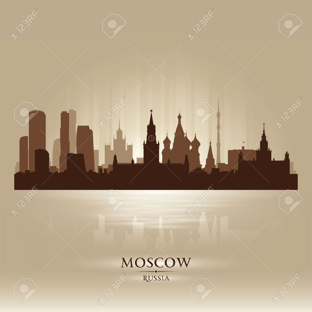 Moscow Russia Skyline City Silhouette Royalty Free Cliparts.