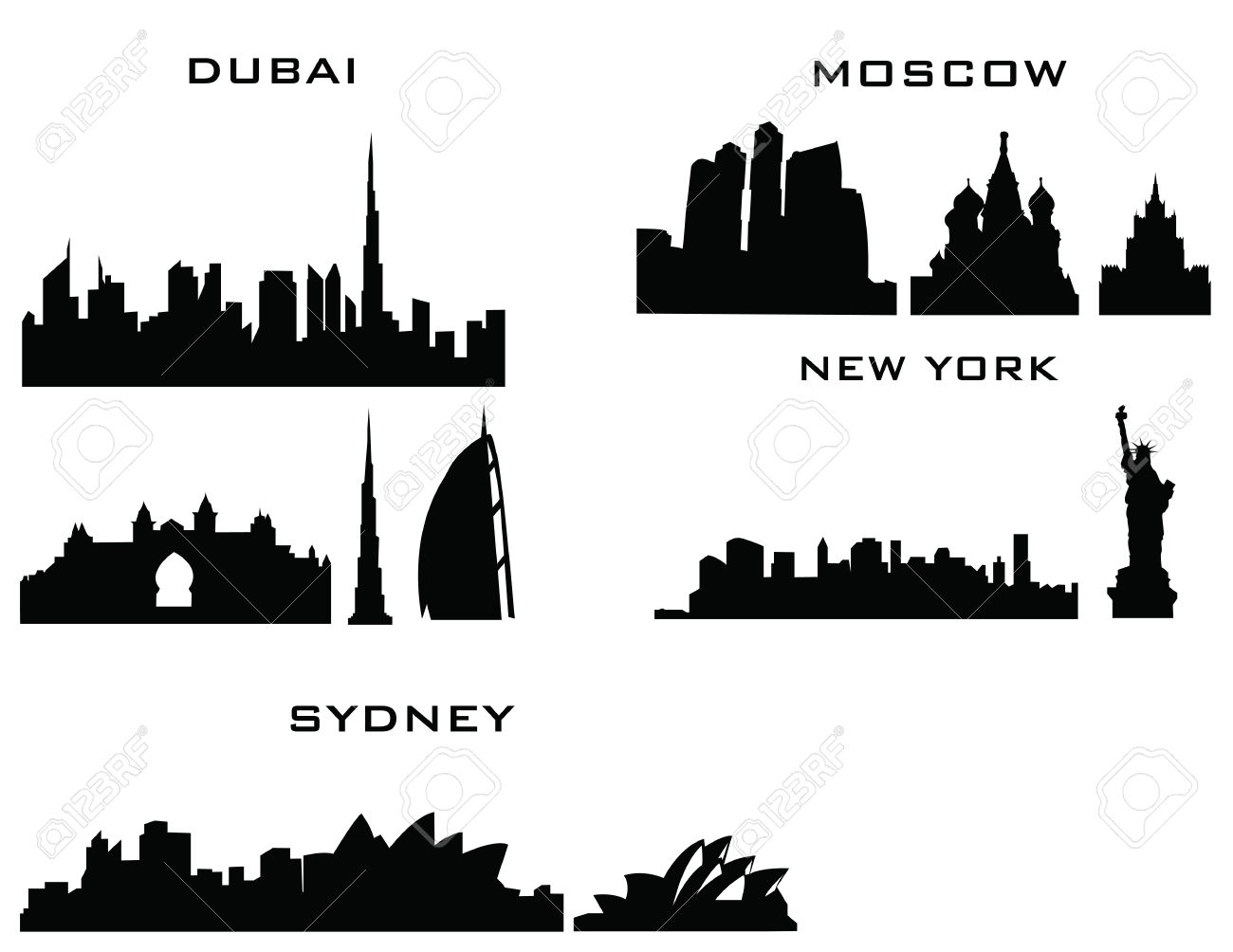 Sillhouette Of Cities New York Sydney Dubai Moscow Royalty Free.