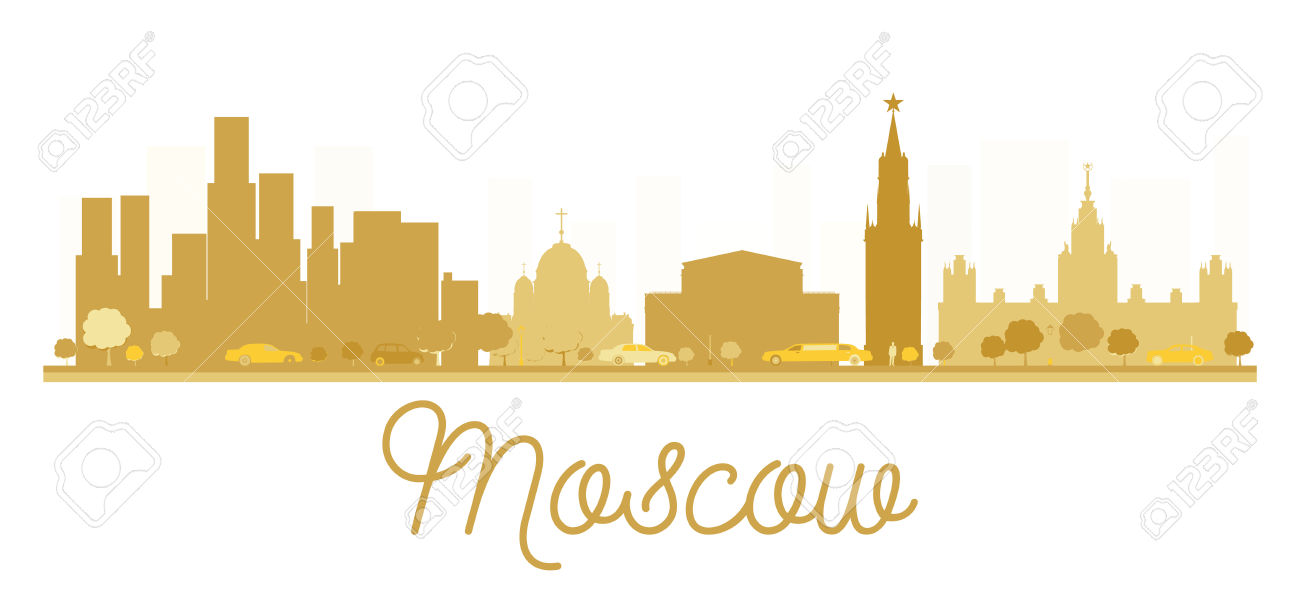 Moscow City Skyline Golden Silhouette. Vector Illustration. Simple.