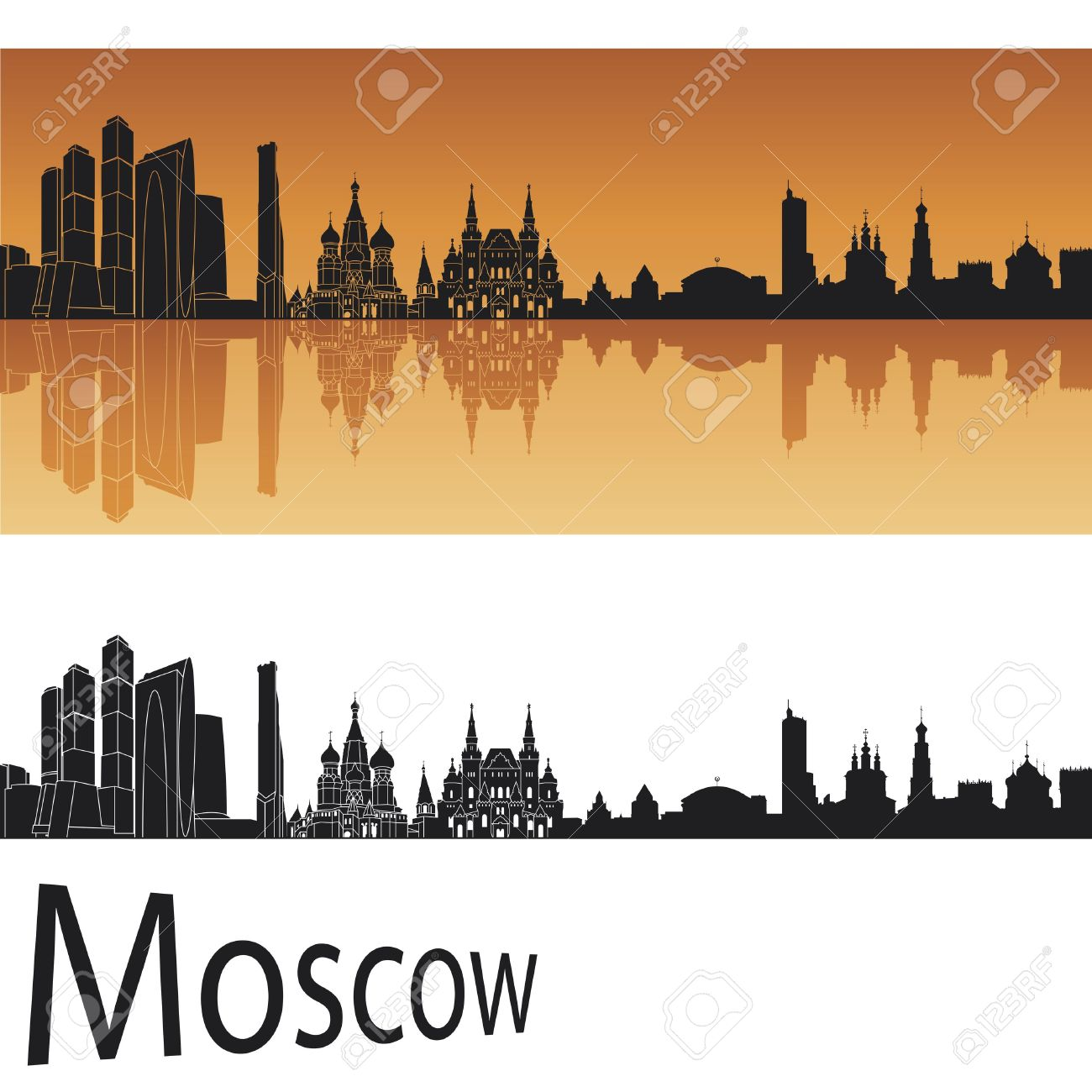 Moscow Skyline In Orange Background Royalty Free Cliparts, Vectors.