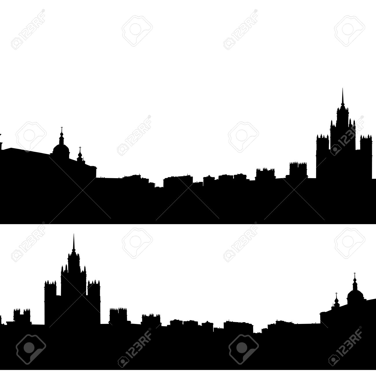 Moscow City Silhouette Skyline Vector Illustration Royalty Free.