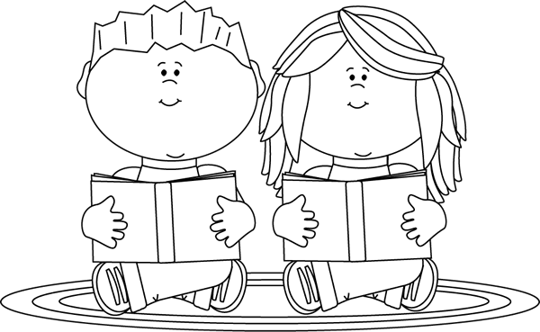 Black and White Reading Partners Clip Art.