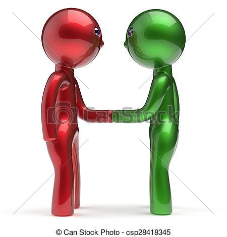 Drawing of Handshake two men cartoon characters business partners.