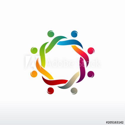 Colorful Happy people vector, Community logo. Teamwork logo.