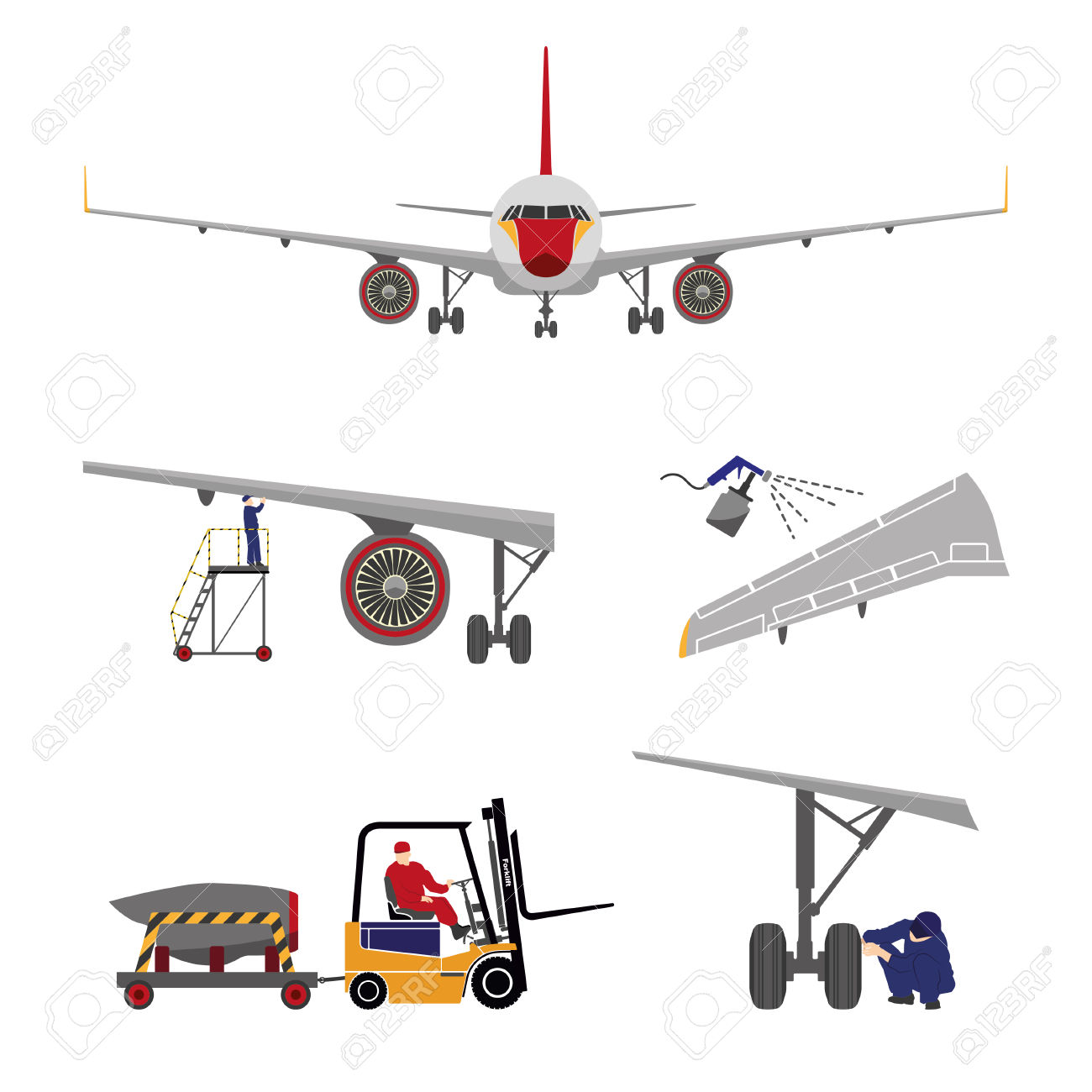 Repair And Maintenance Of Aircraft . Set Of Aircraft Parts In.