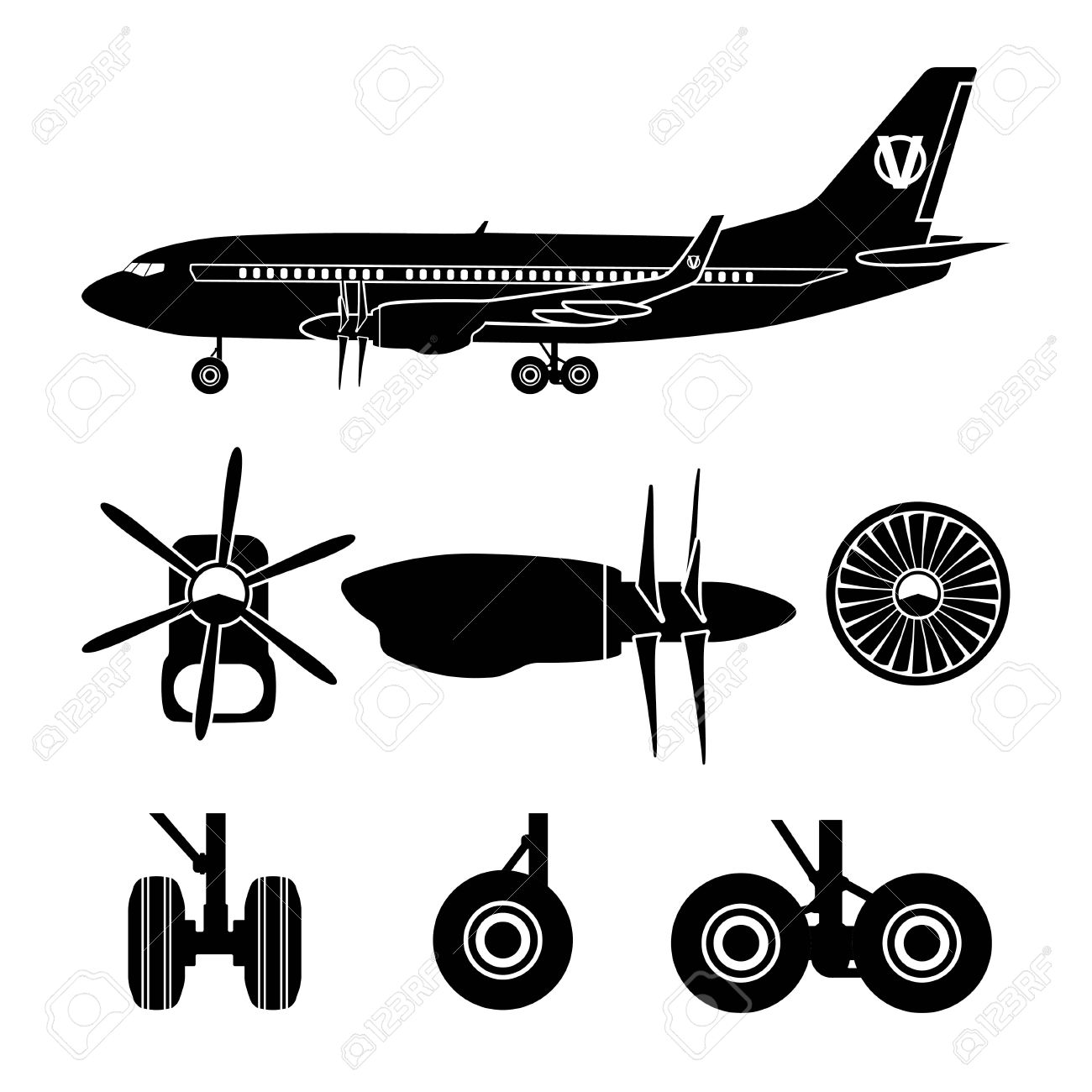Jets Constructor. Black Silhouettes Aircraft Parts. Collection.