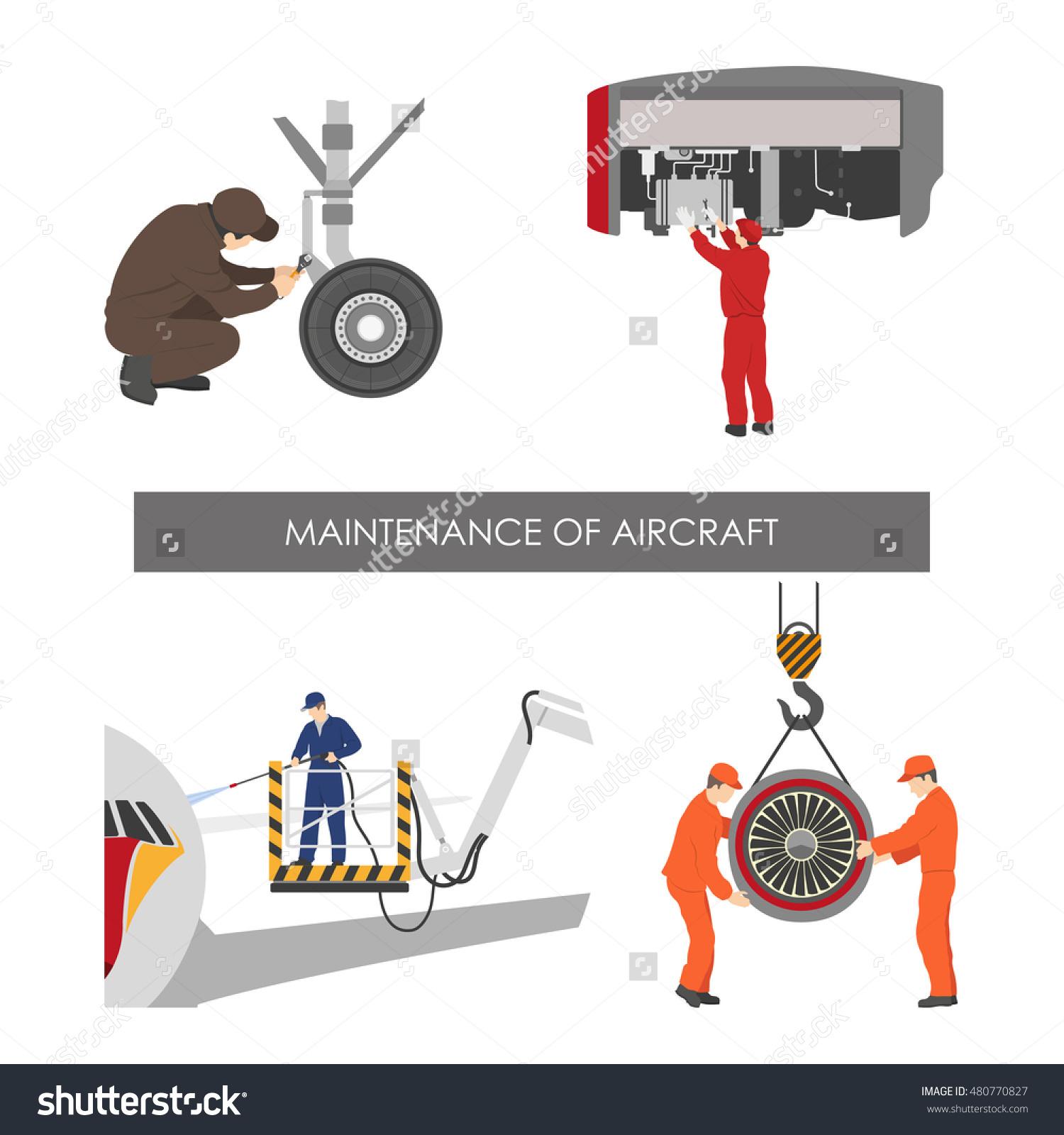 Repair And Maintenance Of Aircraft . Set Of Aircraft Parts In Flat.