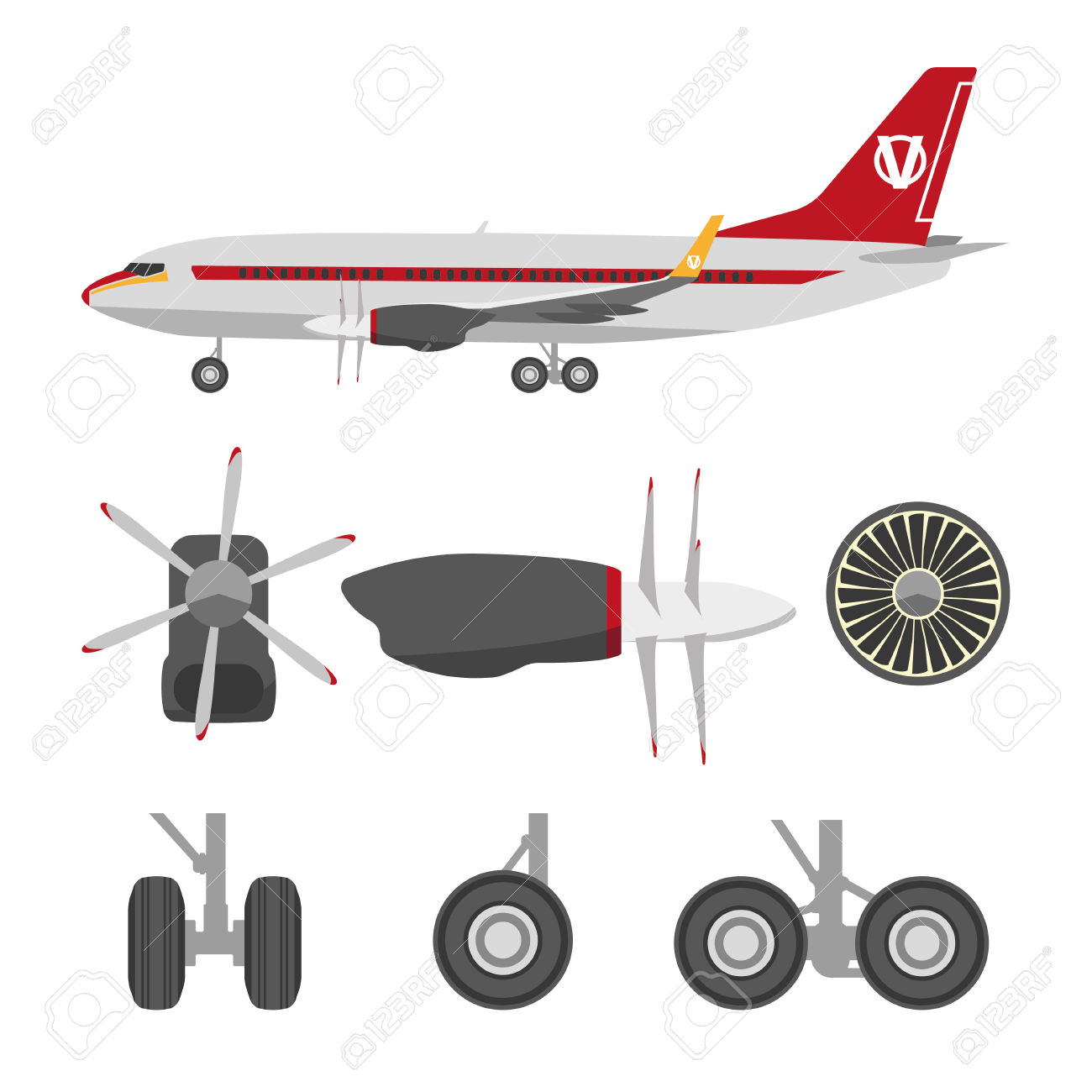 Jets Constructor. Flat Icons Aircraft Parts. Collection Of Symbols.