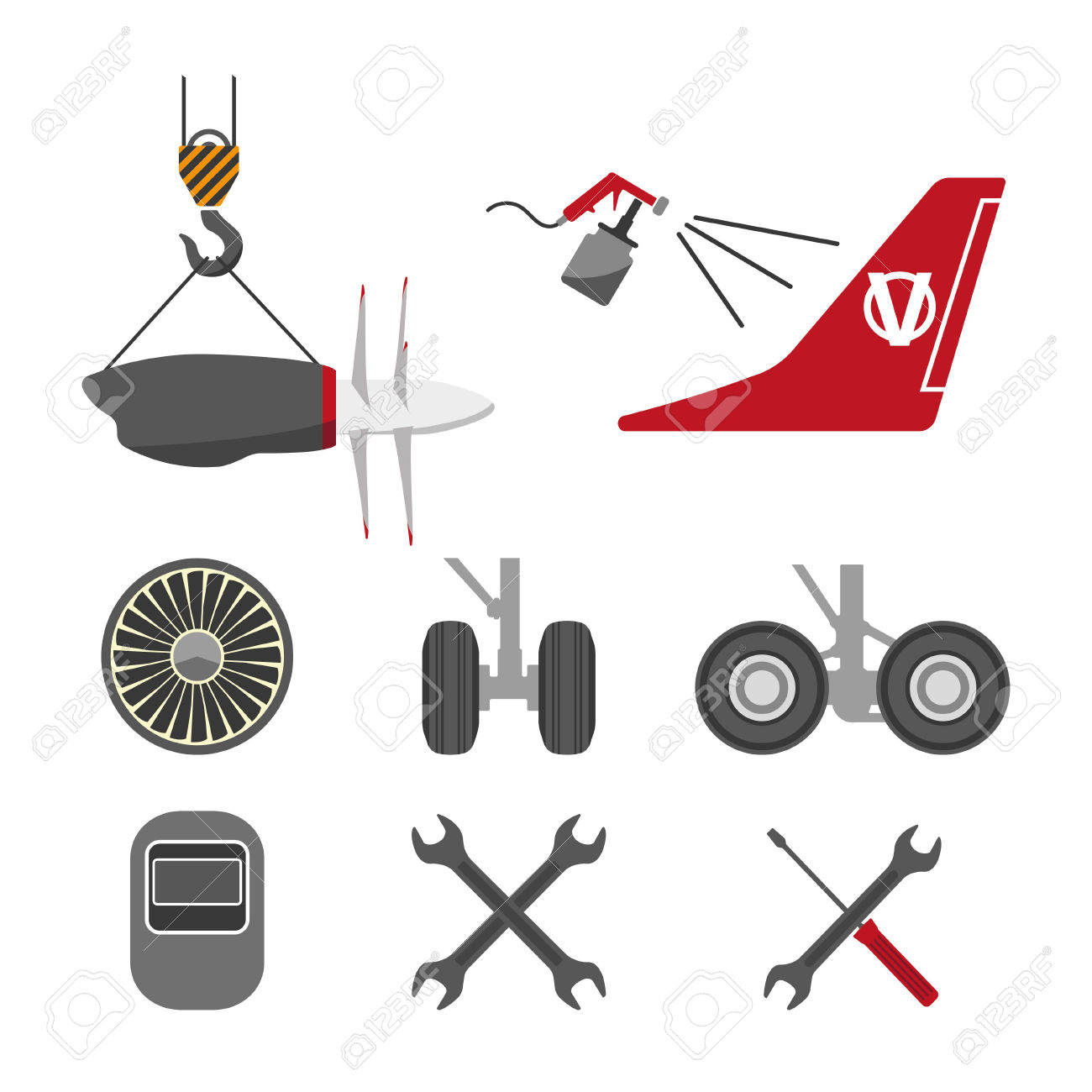 Set Of Aircraft Parts On White Background. Flat Vector Icons.