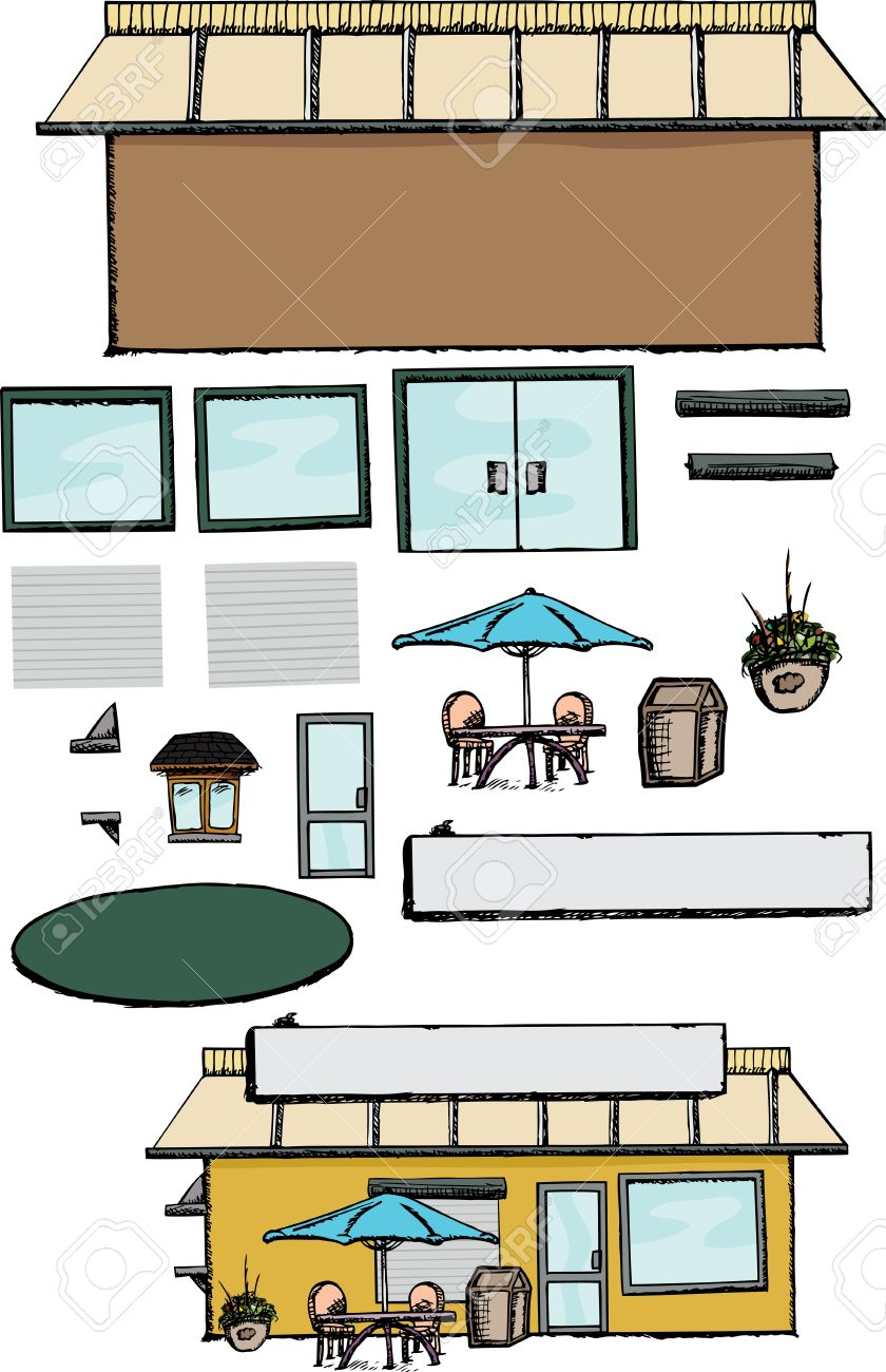 Blank Commercial Building With Parts To Make A Store, Office.