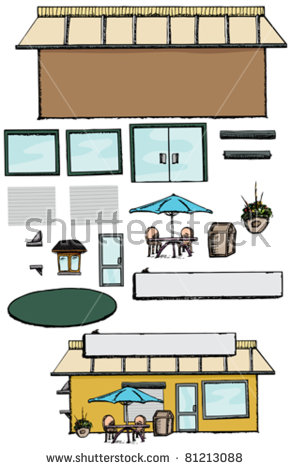 Blank Commercial Building With Parts To Make A Store, Office Or.