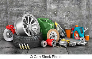 Drawings of Border of auto parts on concrete wall. Auto service.