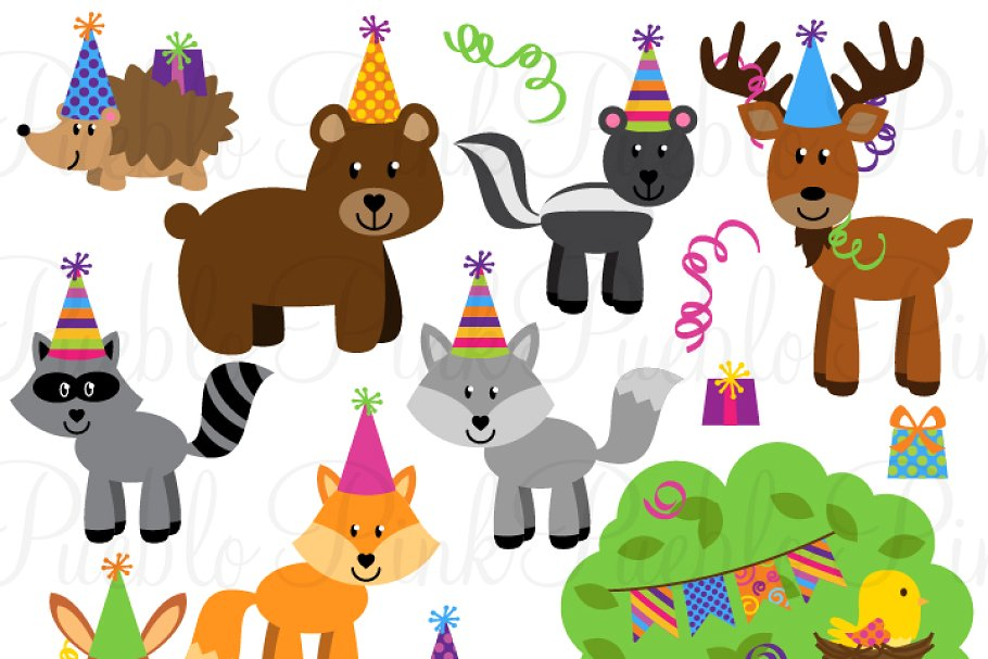Woodland Party Animal Clipart/Vector.