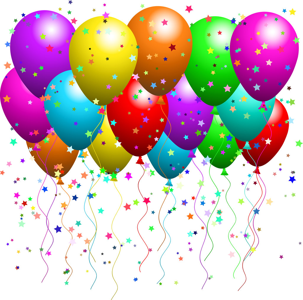 Clipart Illustration of a Bunch Of Floating Party Balloons.