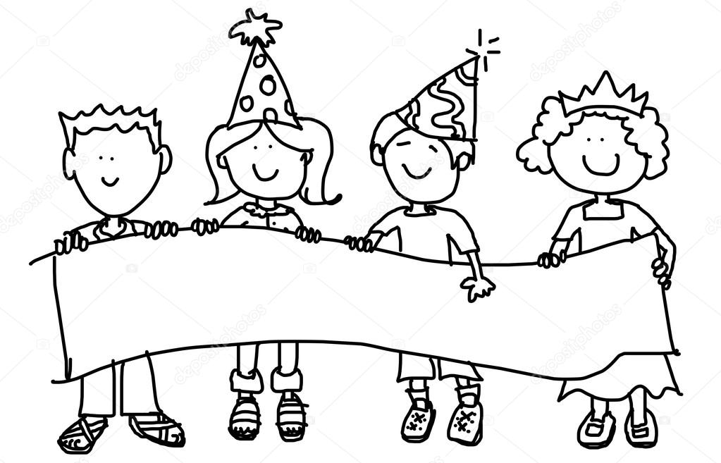 Party hat kids with banner — Stock Photo © Mirage3 #5790098.