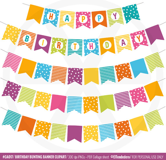 Bunting banner clipart pack Birthday clip art Party banner.