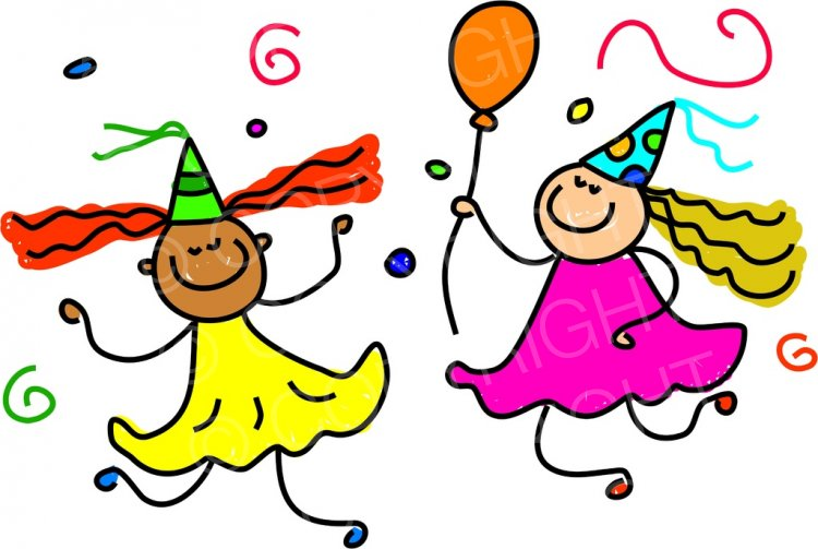 Happy Cartoon Birthday Party Dancing Girls Toddler Art.