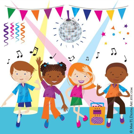Dance Clipart Disco Kids Party Children Boy Girl Dancing.