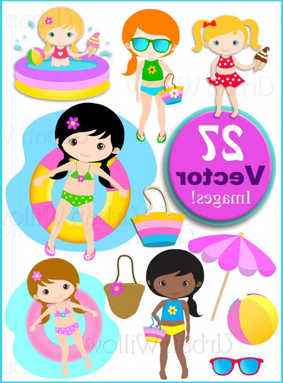 Pool Party Clip Art Vector Graphics Cute.