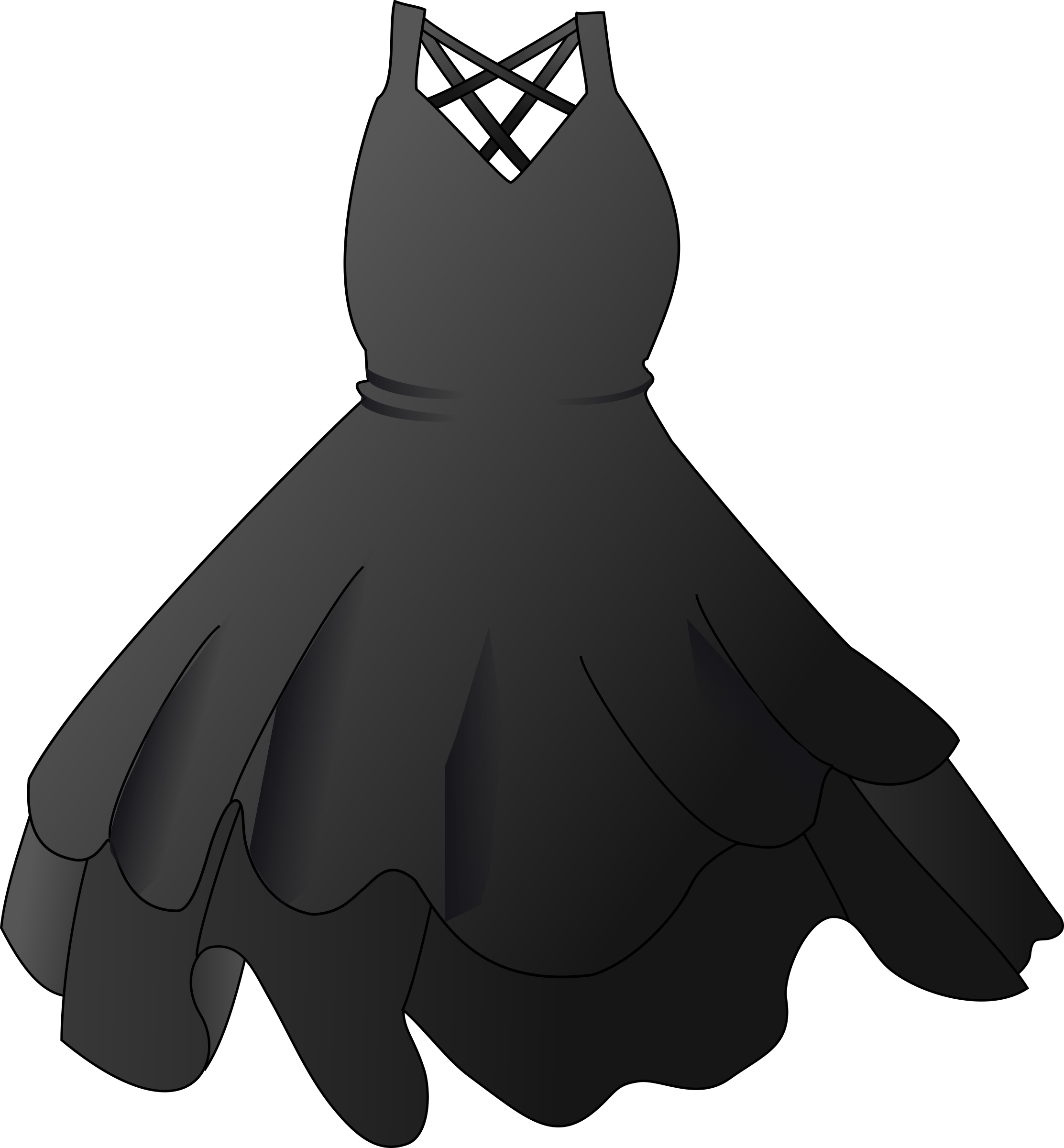 Black Party Dress transparent PNG.