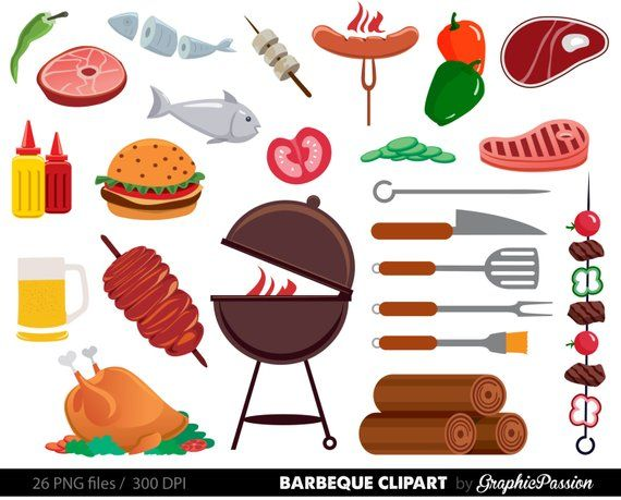 BBQ Clipart, Cookout Clipart, Barbeque Clipart, Party Food.