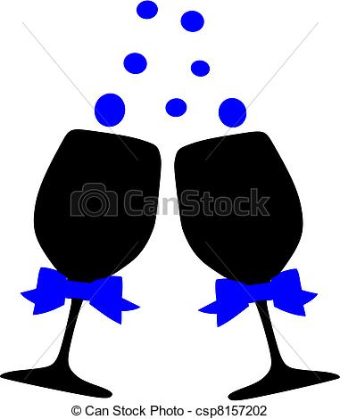 Vector Illustration of Cheers Champagne glasses.