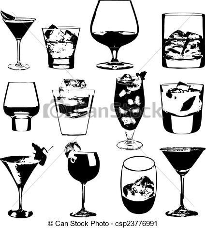 EPS Vectors of Cocktails set. Vector glasses collection. drinking.