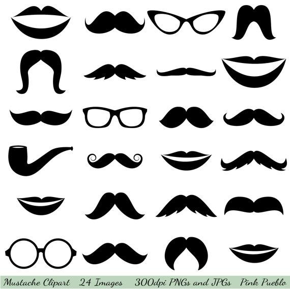 Mustache Clipart Clip Art, Glasses Clipart Clip Art, Lips Clipart.