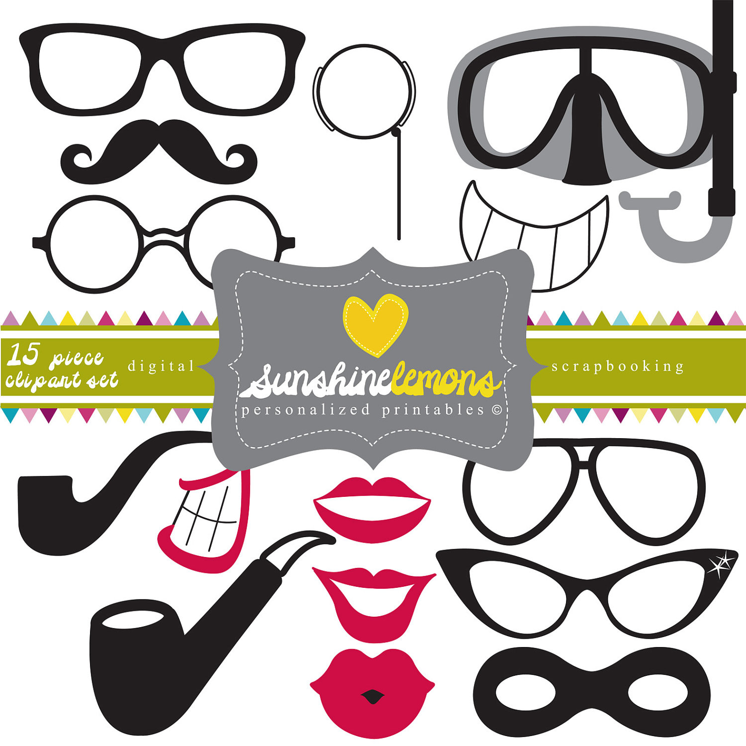 Party Glasses & Lips Clipart 15 piece clipart by SunshineLemons.