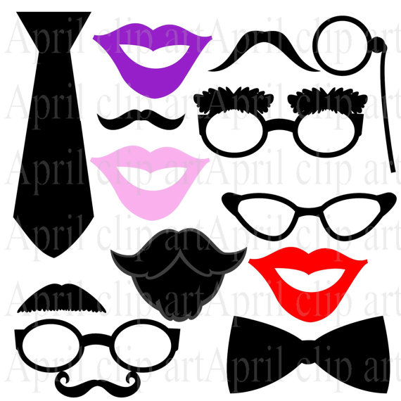 Photo Booth Prop clipart, Printable, Mustache, Lips, Glasses.