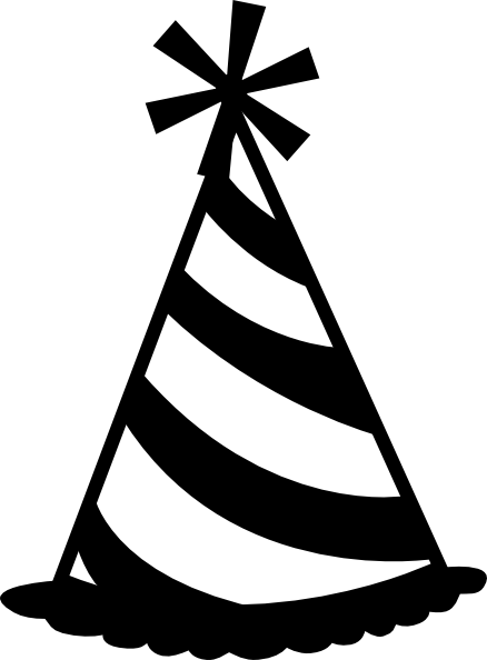 Party Hat Black And White Clipart.