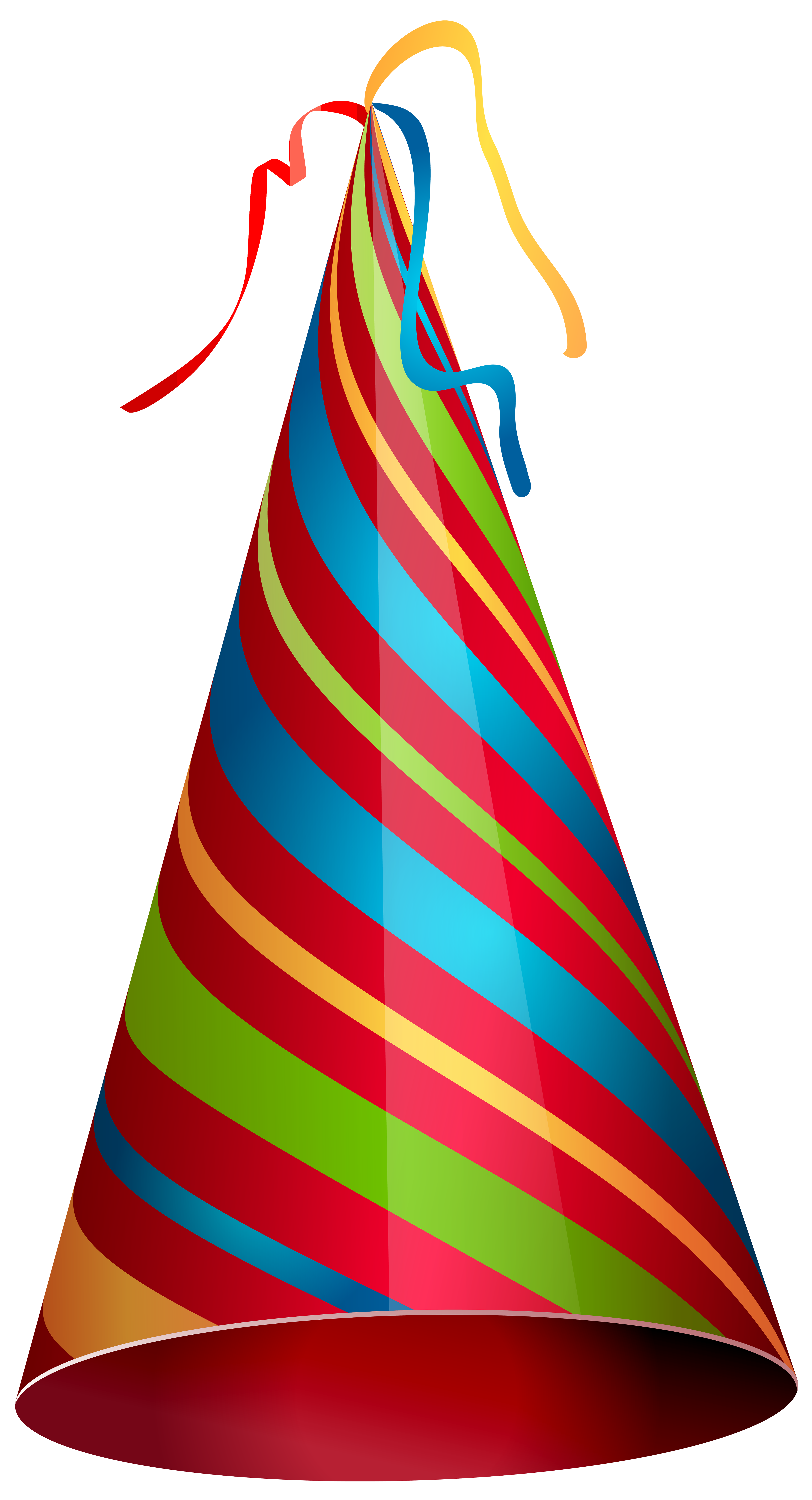 Colorful Party Hat Transparent PNG Clip Art Image.