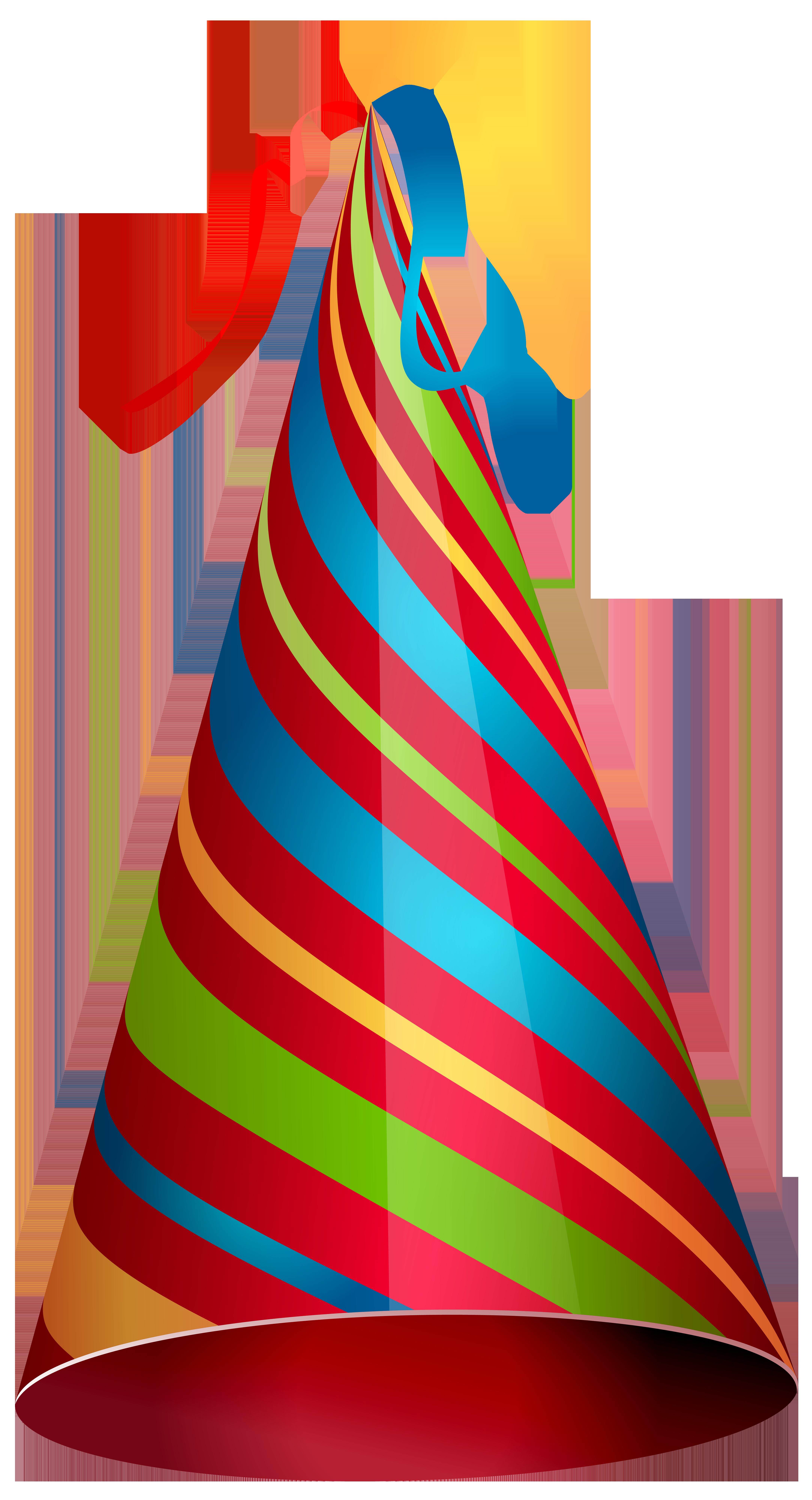 Colorful Party Hat Transparent PNG Clip Art Image.