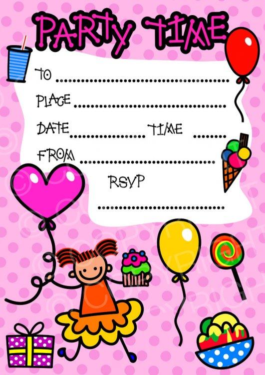 Happy Girl Birthday Party Invitation Clip Art.