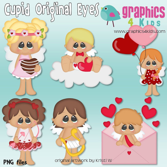 Cupid original eyes Valentine Digital Clipart.