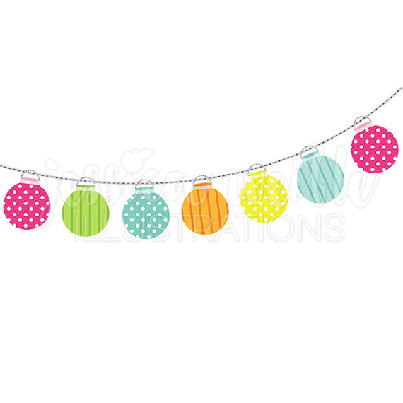 String of Party Lanterns Cute Digital Clipart, Party Lights Clip.