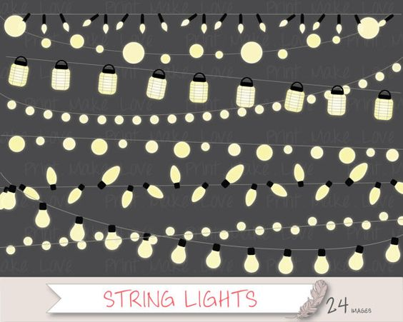 String Lights Clipart, Fairy Lights Clipart, Christmas Lights Clip.