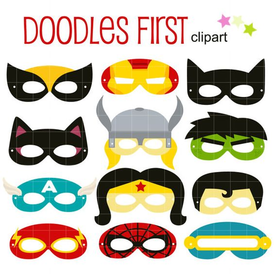 Superheroes Party Mask Digital Clip Art for Scrapbooking Card.