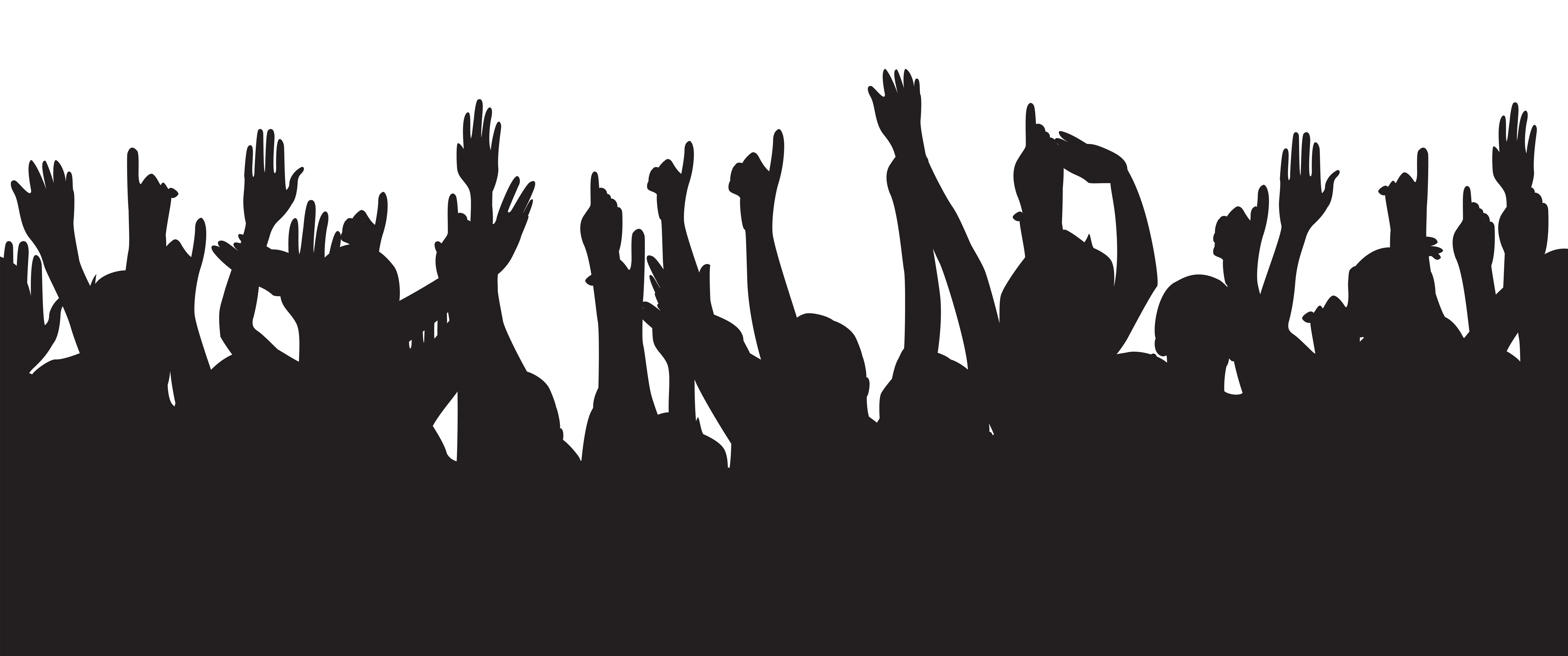 Party People Hands Up Silhouette Clip Art Image.