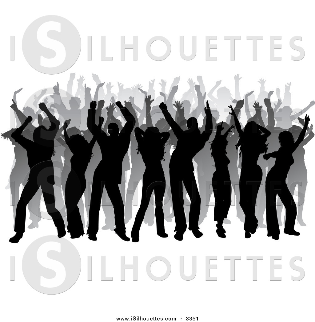 Silhouette Clipart of a Black and Gray Silhouetted Club.