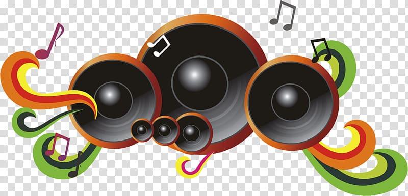Black and orange speakers illustration, Microphone Sound.