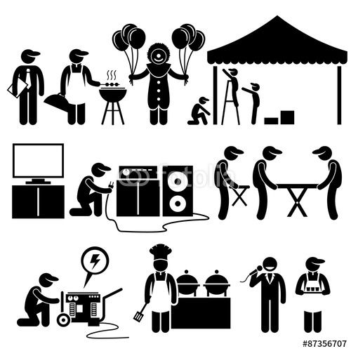 Vektor: Celebration Party Festival Event Services Stick Figure.